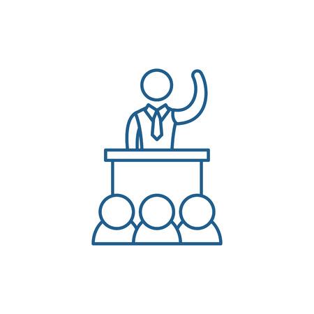 Politische Leistung Symbol Leitung Konzept. Politische Leistung flaches Vektor-Website-Zeichen, Umrisssymbol, Illustration.