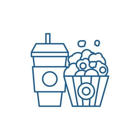 Popcorn and cola line concept icon. Popcorn and cola flat  vector website sign, outline symbol, illustration.