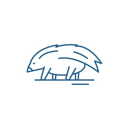 Porcupine line concept icon. Porcupine flat  vector website sign, outline symbol, illustration.
