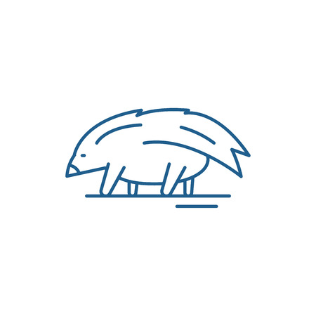 Porcupine line concept icon. Porcupine flat  vector website sign, outline symbol, illustration.