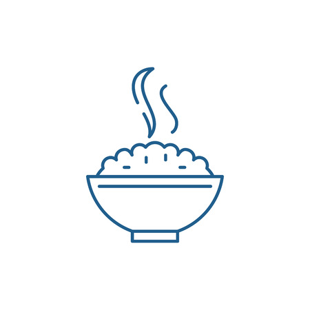 Porridge line concept icon. Porridge flat vector website sign, outline symbol, illustration.