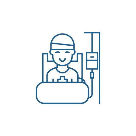 Postoperative period line concept icon. Postoperative period flat  vector website sign, outline symbol, illustration. Illustration