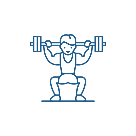 Power lifting line concept icon. Power lifting flat  vector website sign, outline symbol, illustration. 向量圖像