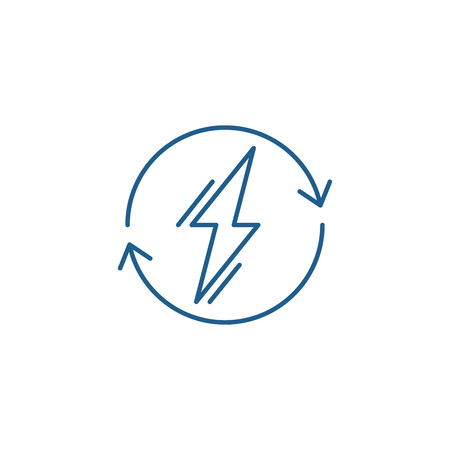 Power usage line concept icon. Power usage flat  vector website sign, outline symbol, illustration. Çizim