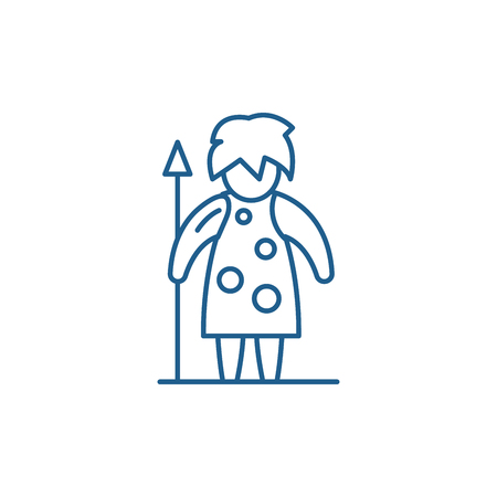Prehistoric man line concept icon. Prehistoric man flat  vector website sign, outline symbol, illustration.
