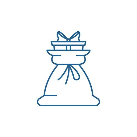 Present bag line concept icon. Present bag flat  vector website sign, outline symbol, illustration.