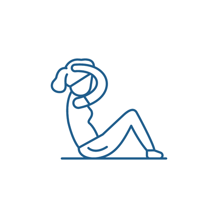 Press workout line concept icon. Press workout flat  vector website sign, outline symbol, illustration.  イラスト・ベクター素材