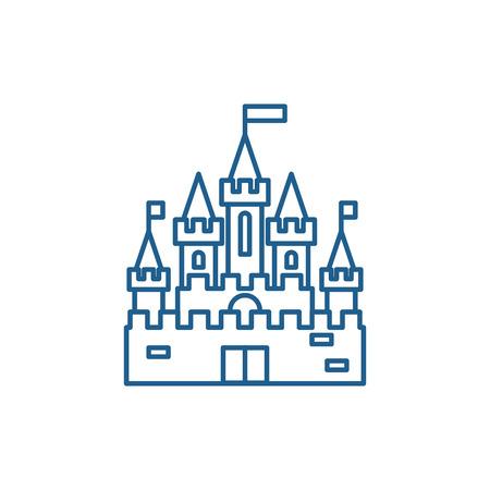 Princess castle line concept icon. Princess castle flat  vector website sign, outline symbol, illustration. Foto de archivo - 119911779