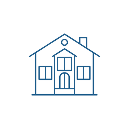 Private house line concept icon. Private house flat  vector website sign, outline symbol, illustration. Standard-Bild - 119911781