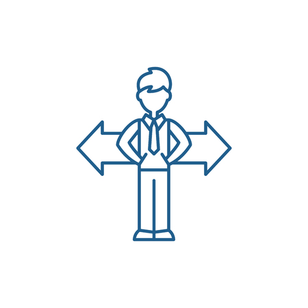 Problem of choice line concept icon. Problem of choice flat  vector website sign, outline symbol, illustration.