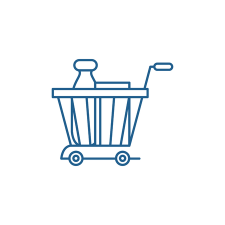 Product basket line concept icon. Product basket flat  vector website sign, outline symbol, illustration. Banque d'images - 119911786