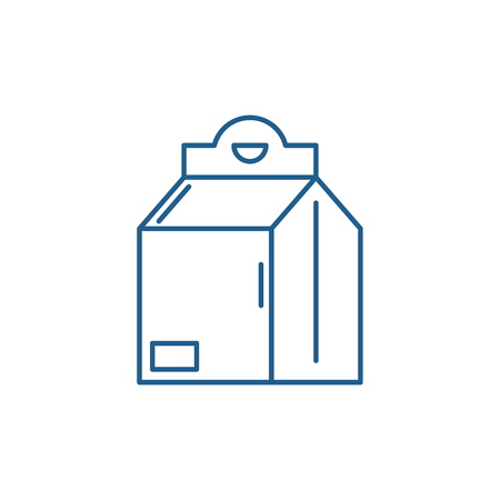 Product in box line concept icon. Product in box flat  vector website sign, outline symbol, illustration.