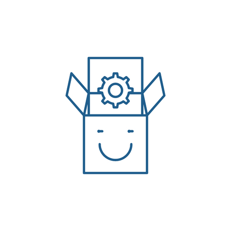 Product satisfaction line concept icon. Product satisfaction flat  vector website sign, outline symbol, illustration.
