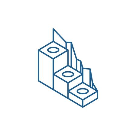 Production development line concept icon. Production development flat  vector website sign, outline symbol, illustration.
