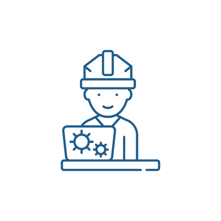Production engineer line concept icon. Production engineer flat  vector website sign, outline symbol, illustration. Ilustracja