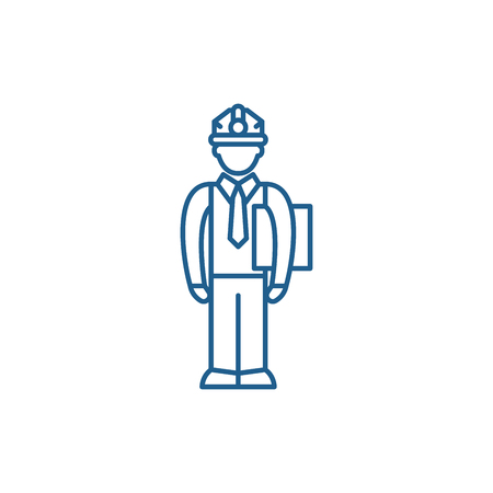 Production manager line concept icon. Production manager flat  vector website sign, outline symbol, illustration.