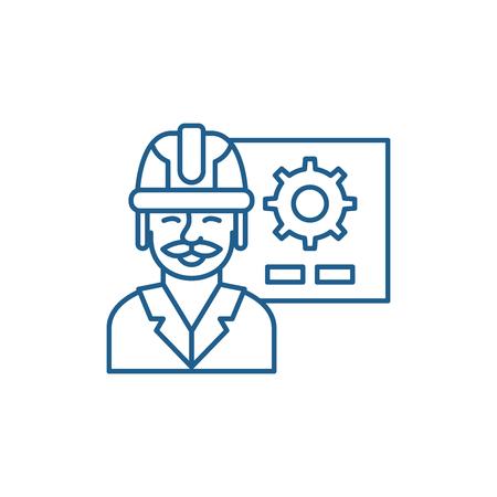 Production presentation line concept icon. Production presentation flat  vector website sign, outline symbol, illustration.