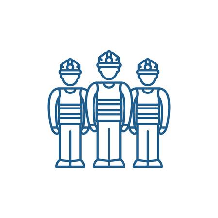 Production team line concept icon. Production team flat  vector website sign, outline symbol, illustration. Ilustrace