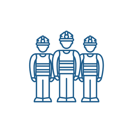 Production team line concept icon. Production team flat  vector website sign, outline symbol, illustration. Illustration