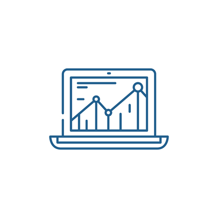 Productivity increase line concept icon. Productivity increase flat  vector website sign, outline symbol, illustration.