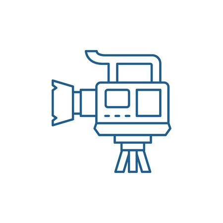 Professional video camera line concept icon. Professional video camera flat  vector website sign, outline symbol, illustration.