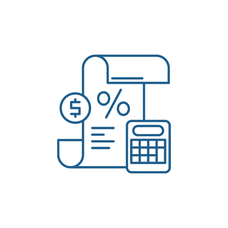Profit and loss statement line concept icon. Profit and loss statement flat  vector website sign, outline symbol, illustration.  イラスト・ベクター素材