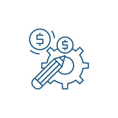 Profitable solution line concept icon. Profitable solution flat  vector website sign, outline symbol, illustration. Иллюстрация