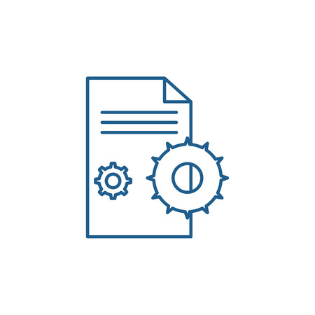 Project agreement line concept icon. Project agreement flat  vector website sign, outline symbol, illustration.