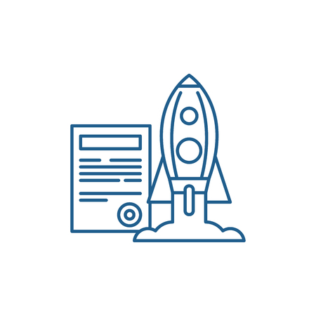Project launch line concept icon. Project launch flat  vector website sign, outline symbol, illustration.