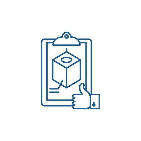 Icono de concepto de línea de reconocimiento de proyectos. Proyecto de reconocimiento de sitio web vector plano signo, símbolo de contorno, Ilustración. Ilustración de vector