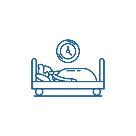 Prokastination line concept icon. Prokastination flat  vector website sign, outline symbol, illustration. 向量圖像