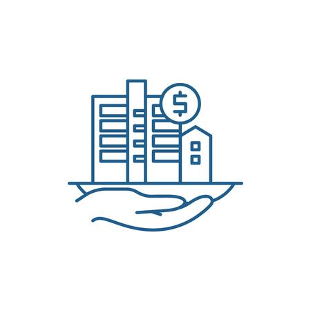 Symbol für das Konzept der Immobilienbewertung. Immobilienbewertung flaches Vektor-Website-Zeichen, Umrisssymbol, Illustration.
