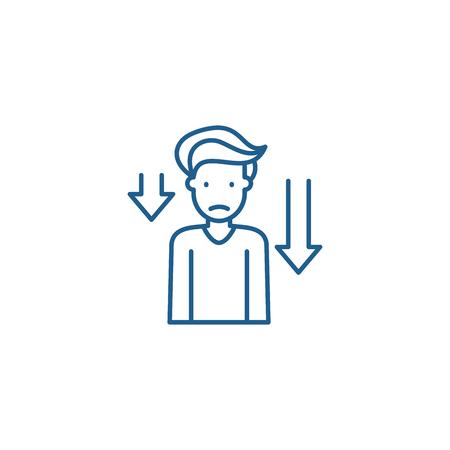 Prostration line concept icon. Prostration flat  vector website sign, outline symbol, illustration. 일러스트