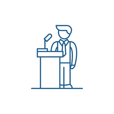 Public performance line concept icon. Public performance flat  vector website sign, outline symbol, illustration. Stock Illustratie