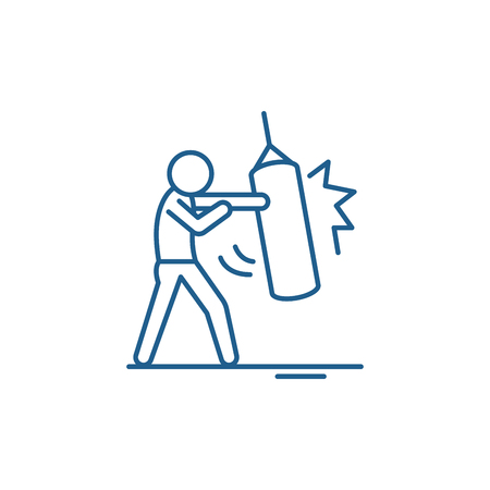 Punchbag line concept icon. Punchbag flat  vector website sign, outline symbol, illustration. 向量圖像