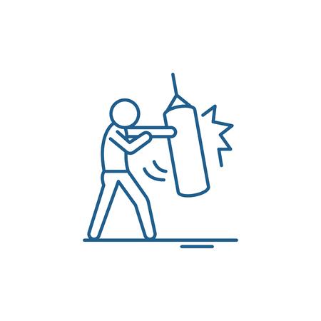 Punchbag line concept icon. Punchbag flat  vector website sign, outline symbol, illustration. Illustration