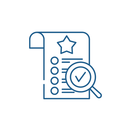 Quality control line concept icon. Quality control flat  vector website sign, outline symbol, illustration.  イラスト・ベクター素材