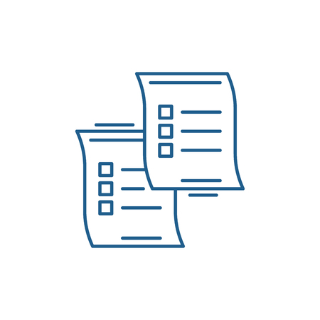 Questionnaires line concept icon. Questionnaires flat  vector website sign, outline symbol, illustration.