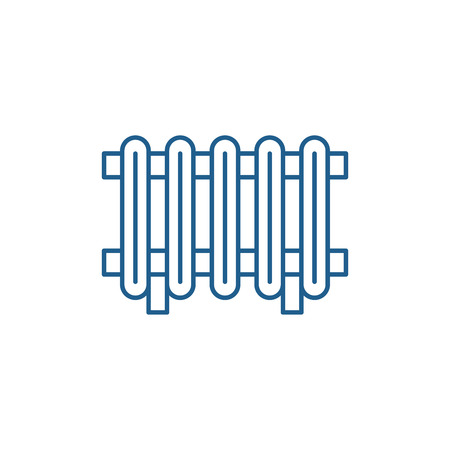 Radiator line concept icon. Radiator flat  vector website sign, outline symbol, illustration.  イラスト・ベクター素材