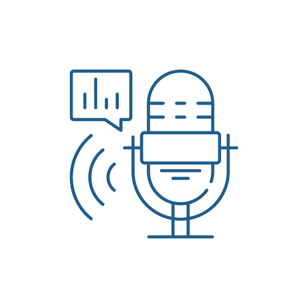 Radio show line concept icon. Radio show flat  vector website sign, outline symbol, illustration. Illustration