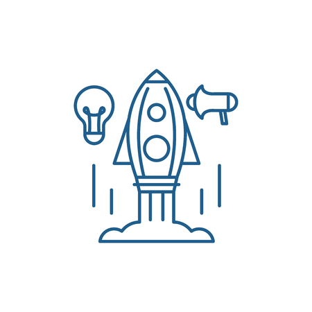 Quick start up business line concept icon. Quick start up business flat  vector website sign, outline symbol, illustration.  イラスト・ベクター素材