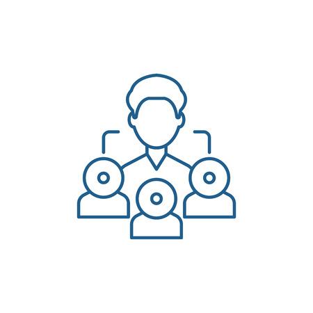 Icône de concept de ligne marketing de référence. Signe de site Web de vecteur plat de marketing de référence, symbole de contour, illustration.