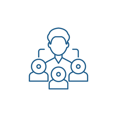 Referral marketing line concept icon. Referral marketing flat  vector website sign, outline symbol, illustration.