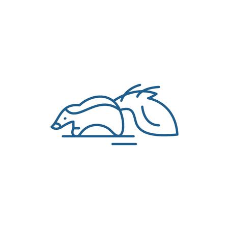 Raccoon line concept icon. Raccoon flat  vector website sign, outline symbol, illustration.