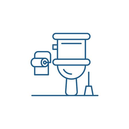 Icône de concept de ligne de toilettes. Signe de site Web de vecteur plat de toilettes, symbole du contour, illustration.