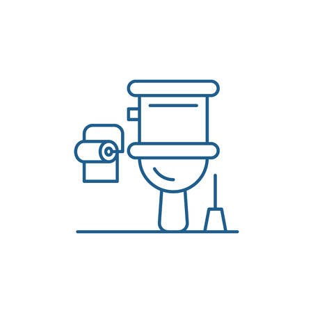 Restroom line concept icon. Restroom flat  vector website sign, outline symbol, illustration.