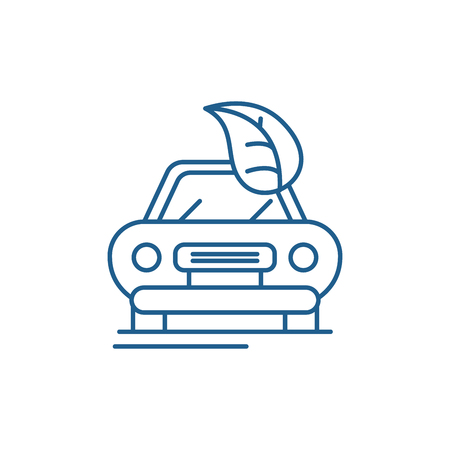 Retro car line concept icon. Retro car flat  vector website sign, outline symbol, illustration.