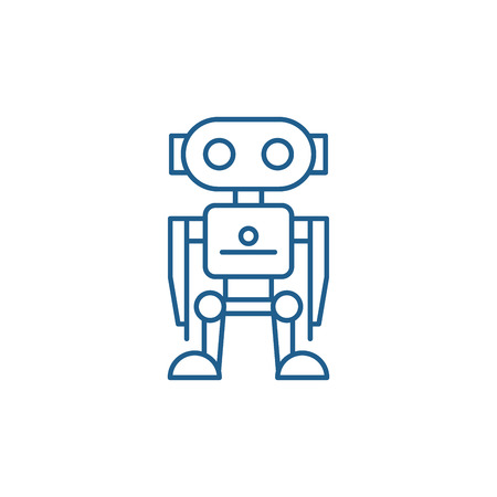 Robot line concept icon. Robot flat  vector website sign, outline symbol, illustration. Stock Vector - 119911972