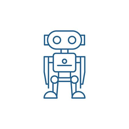 Robot line concept icon. Robot flat  vector website sign, outline symbol, illustration.