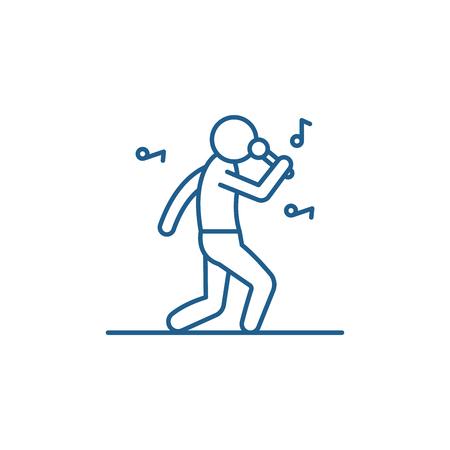Rock star line concept icon. Rock star flat  vector website sign, outline symbol, illustration.